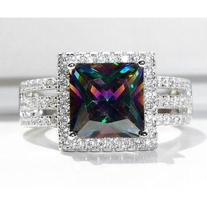 925 Sterling Silver Simulated Mystic Topaz CZ Ring